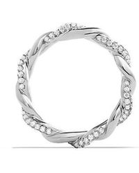 David Yurman | Dy Wisteria Twist Ring With Diamonds In 18k White Gold, 4mm | Lyst