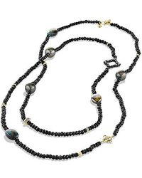 David Yurman - Dy Signature Bead Necklace With Black Spinels,gray Pearls And 18k Gold - Lyst