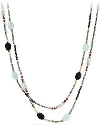David Yurman - Dy Signature Bead Necklace With Pyrite, Aquamarine And Black Spinel In 18k Gold - Lyst