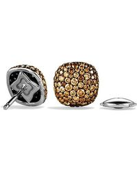 David Yurman - Pavé Earrings With Cognac Diamonds In 18k White Gold - Lyst