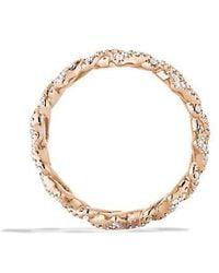 David Yurman   Venetian Quatrefoil Stacking Ring With Diamonds In 18k Rose Gold   Lyst