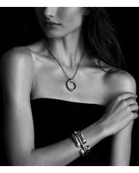 David Yurman   Sculpted Cable Bracelet With Diamonds And 18k Gold, 5mm   Lyst