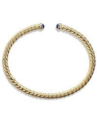 David Yurman - Cable Spira Bracelet With Blue Sapphires In 18k Gold, 4mm - Lyst