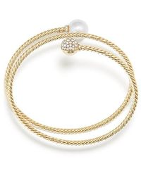 David Yurman - Solari Coil Bracelet With Cultured Akoya Pearl And Diamonds In 18k Gold - Lyst