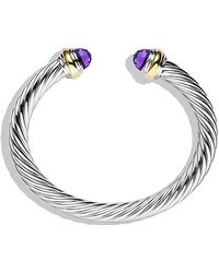 David Yurman - Cable Classics Bracelet With Amethyst And 14k Gold, 7mm - Lyst