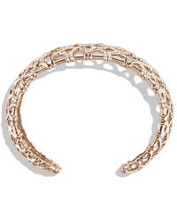 David Yurman - Venetian Quatrefoil Narrow Cuff Bracelet With Diamonds In 18k Rose Gold, 24mm - Lyst