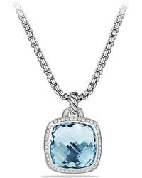 David Yurman - Albion® Pendant With Blue Topaz And Diamonds, 17mm - Lyst