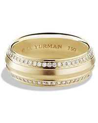 David Yurman - Knife Edge Band Ring With Diamonds In 18k Gold, 8mm - Lyst