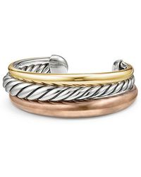 David Yurman - Pure Form® Mixed Metal Three-row Cuff With Bronze, Silver And Bronze, 24mm - Lyst