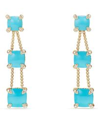 David Yurman - Chatelaine® Linear Chain Earrings With Turquoise And Diamonds In 18k Gold - Lyst