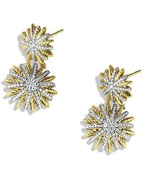 David Yurman - Starburst Double-drop Earrings With Diamonds In 18k Gold - Lyst