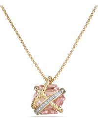 David Yurman - Cable Wrap Necklace With Morganite And Diamonds In 18k Gold, 10mm - Lyst