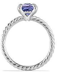 David Yurman - Châtelaine Ring With Tanzanite And Diamonds In 18k White Gold, 7mm - Lyst