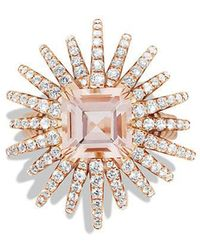 David Yurman | Starburst Ring With Diamonds And Morganite In 18k Rose Gold, 25mm | Lyst