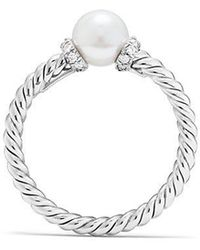 David Yurman - Solari Station Ring With Cultured Pearl And Diamonds In 18k White Gold - Lyst