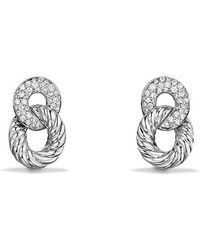 david yurman belmont extrasmall curb link drop earrings with diamonds in 18k white