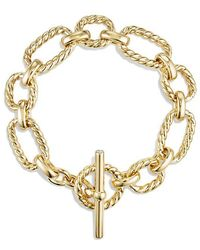 David Yurman - Cushion Link Bracelet With Diamonds In 18k Gold - Lyst