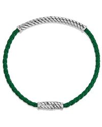David Yurman | Cable Classic Leather Bracelet In Green | Lyst
