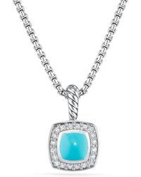 David Yurman - Petite Albion® Pendant Necklace With Turquoise And Diamonds - Lyst