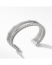 David Yurman - Stax Narrow Cuff Bracelet With Diamonds, 16mm - Lyst