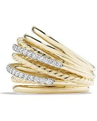 David Yurman - X Crossover Dome Ring With Diamonds In 18k Gold - Lyst