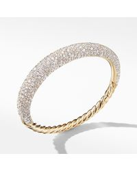 David Yurman - Pure Form® Full Pave Smooth Bracelet In 18k Gold, 9.5mm - Lyst