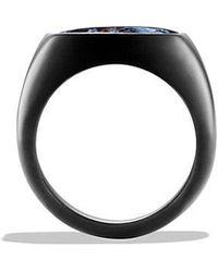 David Yurman | Exotic Stone Signet Ring With Pietersite In Black Titanium | Lyst