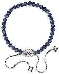 David Yurman - Petite Pavé Bracelet With Blue Sapphire - Lyst