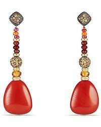David Yurman - Delta Drop Earring With Red Jasper, Garnet, Orange And Yellow Sapphire And 18k Gold - Lyst