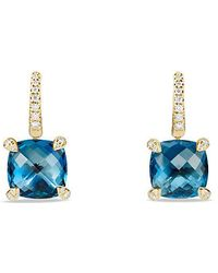 David Yurman - Châtelaine Drop Earrings With Hampton Blue Topaz And Diamonds In 18k Gold - Lyst