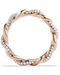 David Yurman - Dy Wisteria Twist Ring With Diamonds In 18k Rose Gold, 4mm - Lyst