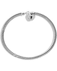 David Yurman - Cable Collectibles Heart Lock Bracelet With Diamonds, 3mm - Lyst