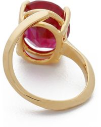 Bijules - Phalange Oval Midi Ring - Ruby/gold - Lyst