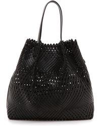 Nina Ricci Woven Leather Tote - Black - Lyst