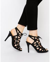 Warehouse - Lace Up Caged Heeled Sandals - Lyst