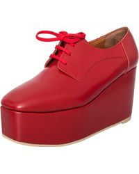 Junya Watanabe Lace Up Leather Wedge Red - Lyst