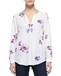 Joie Deon B Long-sleeve Silk Floral Blouse - Lyst
