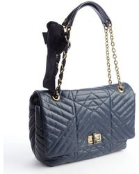 Lanvin Navy Blue Quilted Leather Happy Chain Shoulder Bag - Lyst