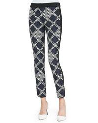 Trina Turk Candace Printedsolid Jersey Pants Indigo 2 - Lyst