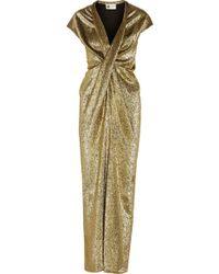 Lanvin Draped Silk-blend Lamé Gown - Lyst