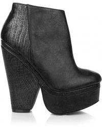 Missguided - Snake Print Platform Boots In Black - Lyst