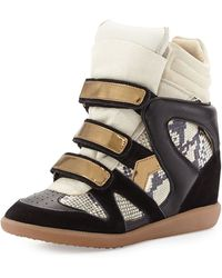 Isabel Marant Bonny Tri-tone Snake-embossed Wedge Sneakers - Lyst