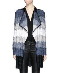 St. John | Ombré Wave Stripe Wool Blend Cardigan | Lyst