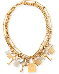 Marc By Marc Jacobs Lock And Key Necklace - Metallic