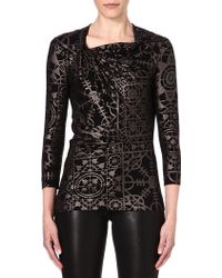 Vivienne Westwood Anglomania Metalliceffect Jersey Top Gunmetal and Black - Lyst