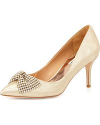 Badgley Mischka Lemonade Metallic Leather Pump - Lyst