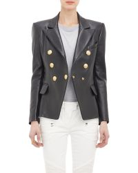 Balmain Leather Double-Breasted Jacket - Lyst