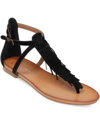 Lucky Brand Women'S Wekka Fringe Flat Thong Sandals - Lyst