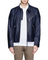 Acne Studios Quilted Shoulder Leather Biker Jacket - Lyst