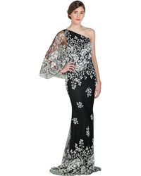 Badgley Mischka Caviar Drop One-Sleeve Evening Gown - Lyst